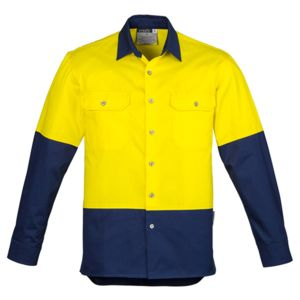 Syzmik Mens Hi Vis Spliced Industrial Shirt Thumbnail