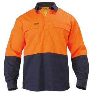Bisley 2 Tone Closed Front Hi Vis Long Sleeve Drill Shirt Thumbnail
