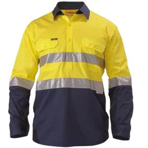 2 Tone Closed Front Hi Vis L/S Lightweight Drill Shirt + Taped Thumbnail