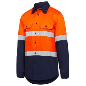 Hard Yakka Hi Vis Two Tone Taped Vented L/S Shirt  Thumbnail