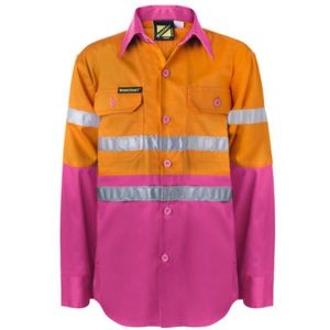Kids 3M Taped Hi Vis Long Sleeve Drill Shirt Thumbnail