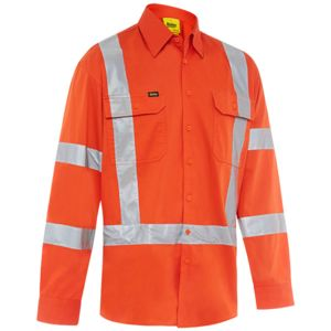 Bisley 3M Taped X Back Hi Vis Lightweight Railway Drill Shirt Thumbnail